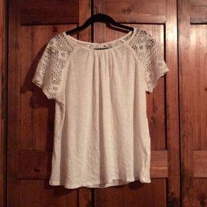 Women's Lucky Brand Crochet Short Sleeve Shirt